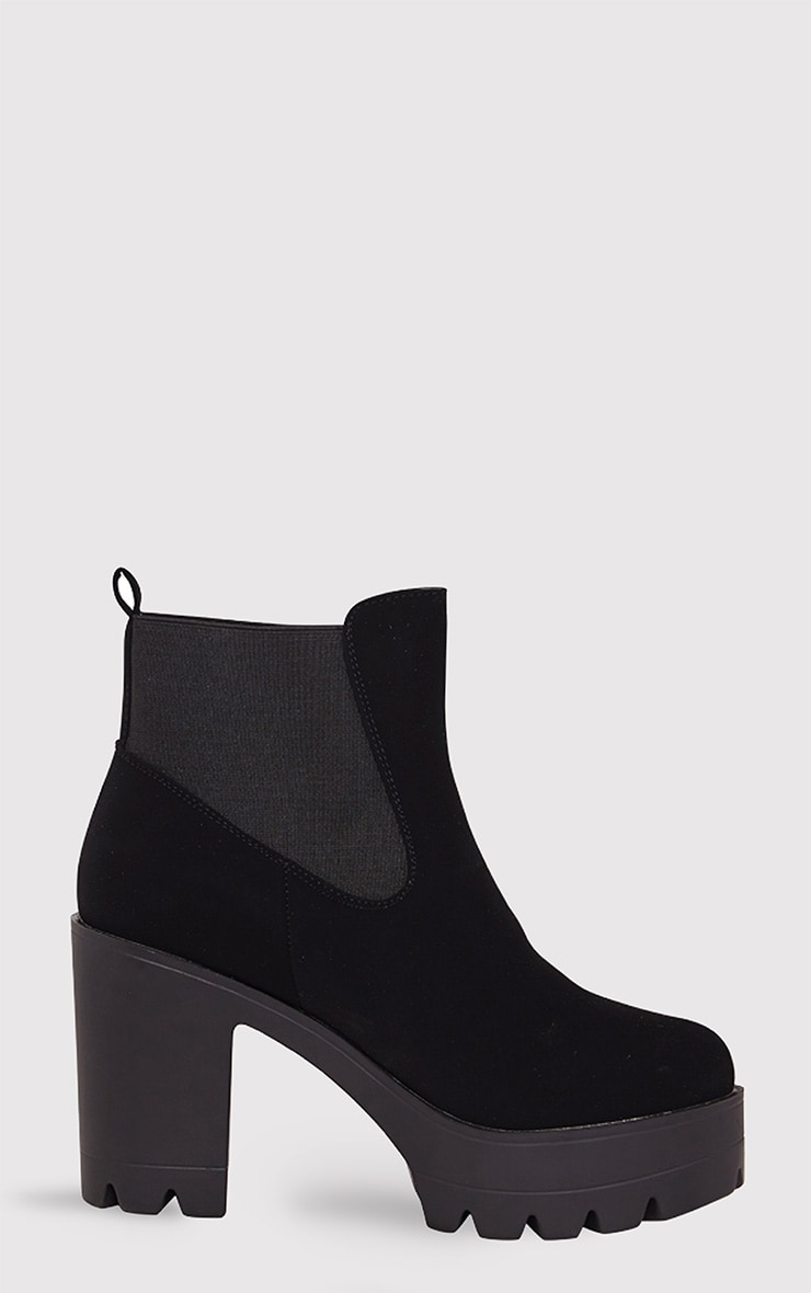 Lou Black Cleated Sole Ankle Boots 1
