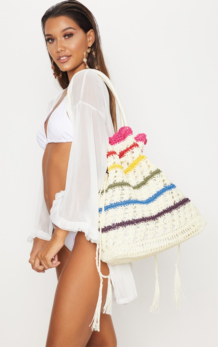 Rainbow Straw Beach Bag 1