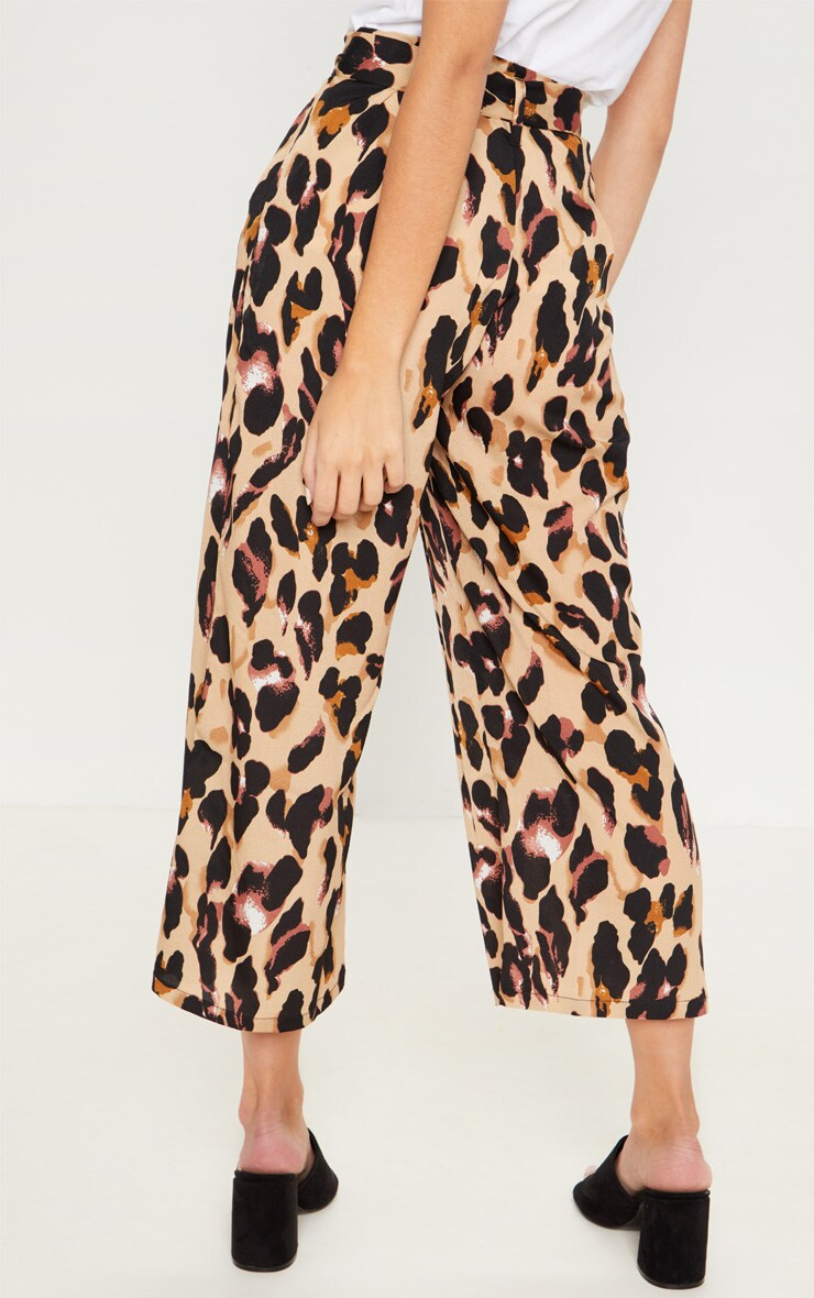 Tan Satin Leopard Print Culotte Pants 4