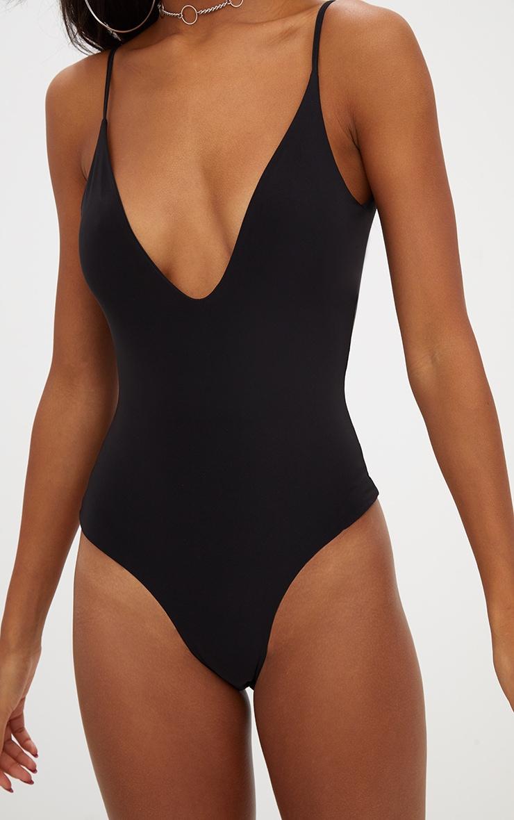 Black Slinky Deep Plunge Bodysuit 6