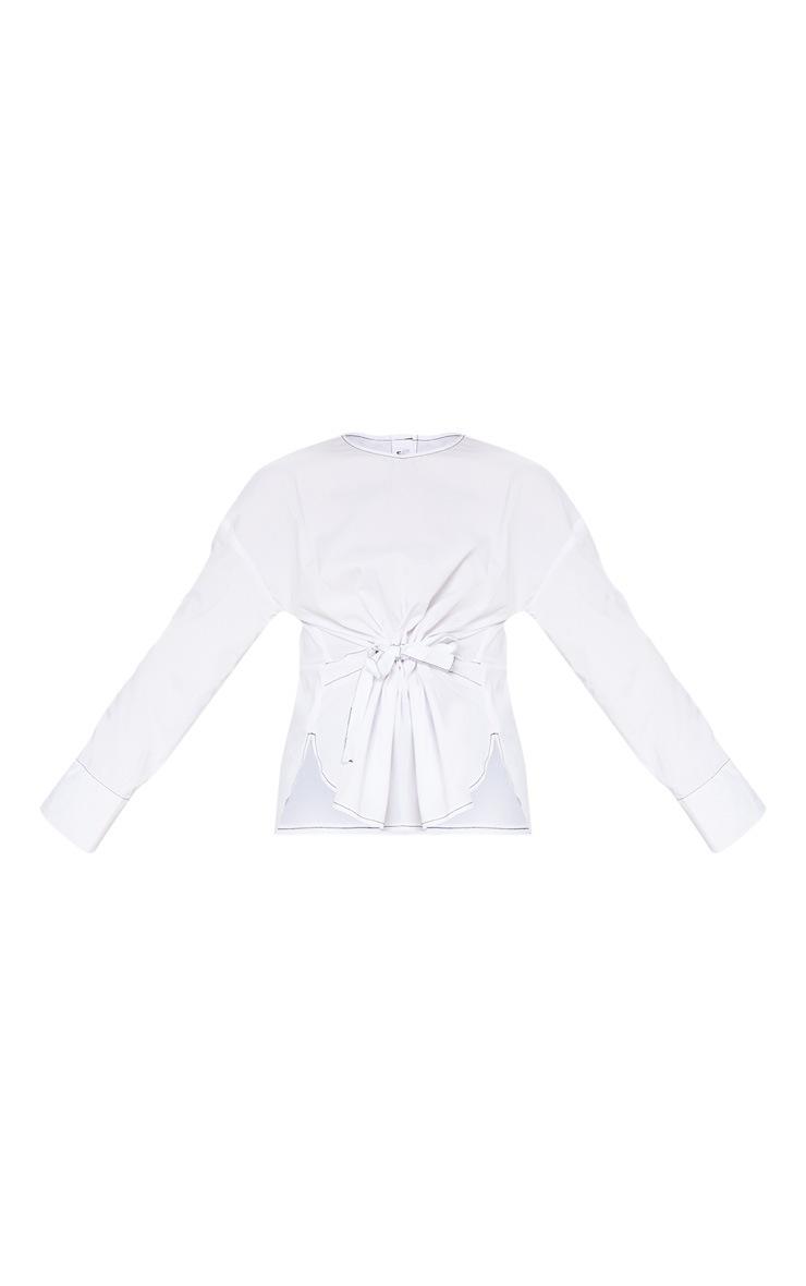 White Woven Contrast Stitch Gathered Waist Shirt 3