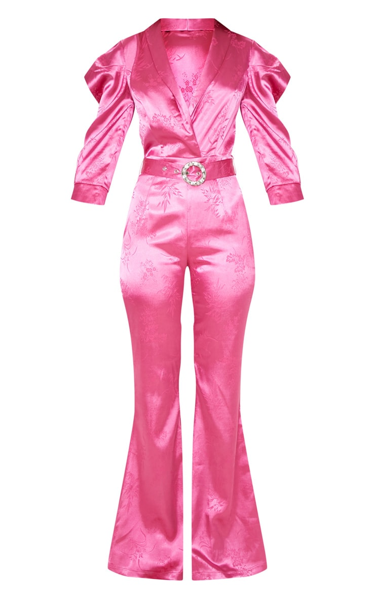 Hot Pink Belted Puff Sleeve Jumpsuit 3