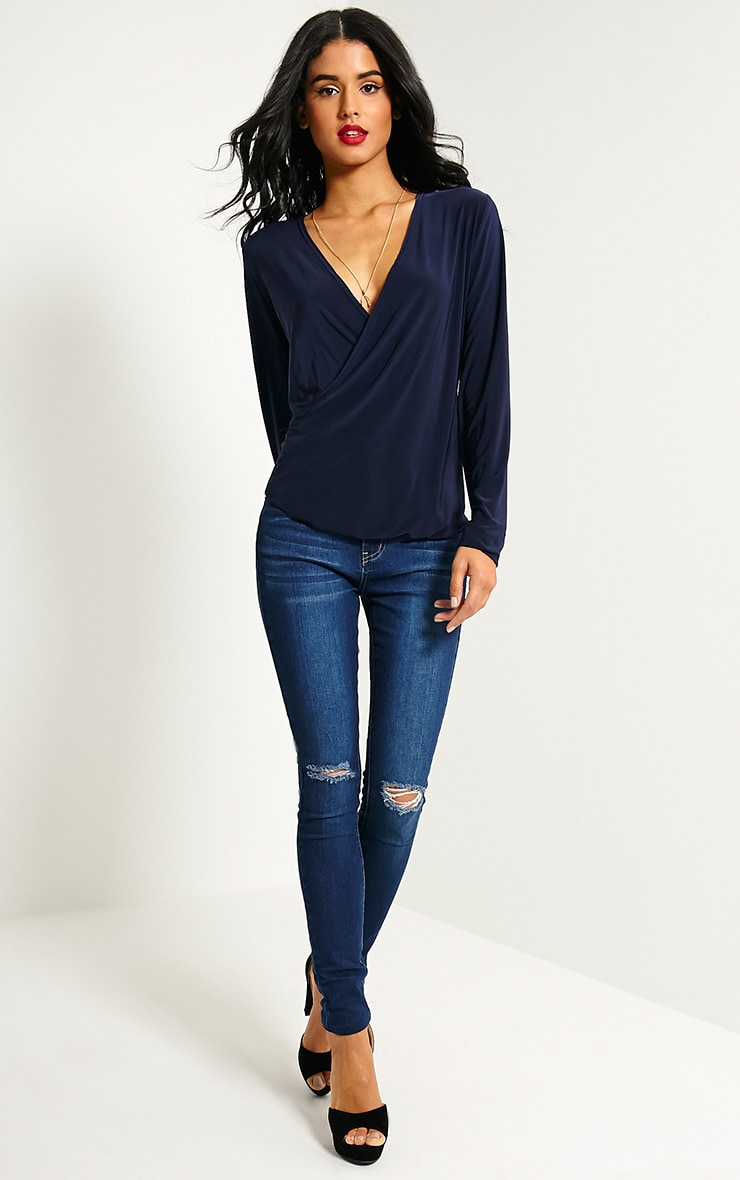 Kimberley Navy Slinky Wrap Top 3