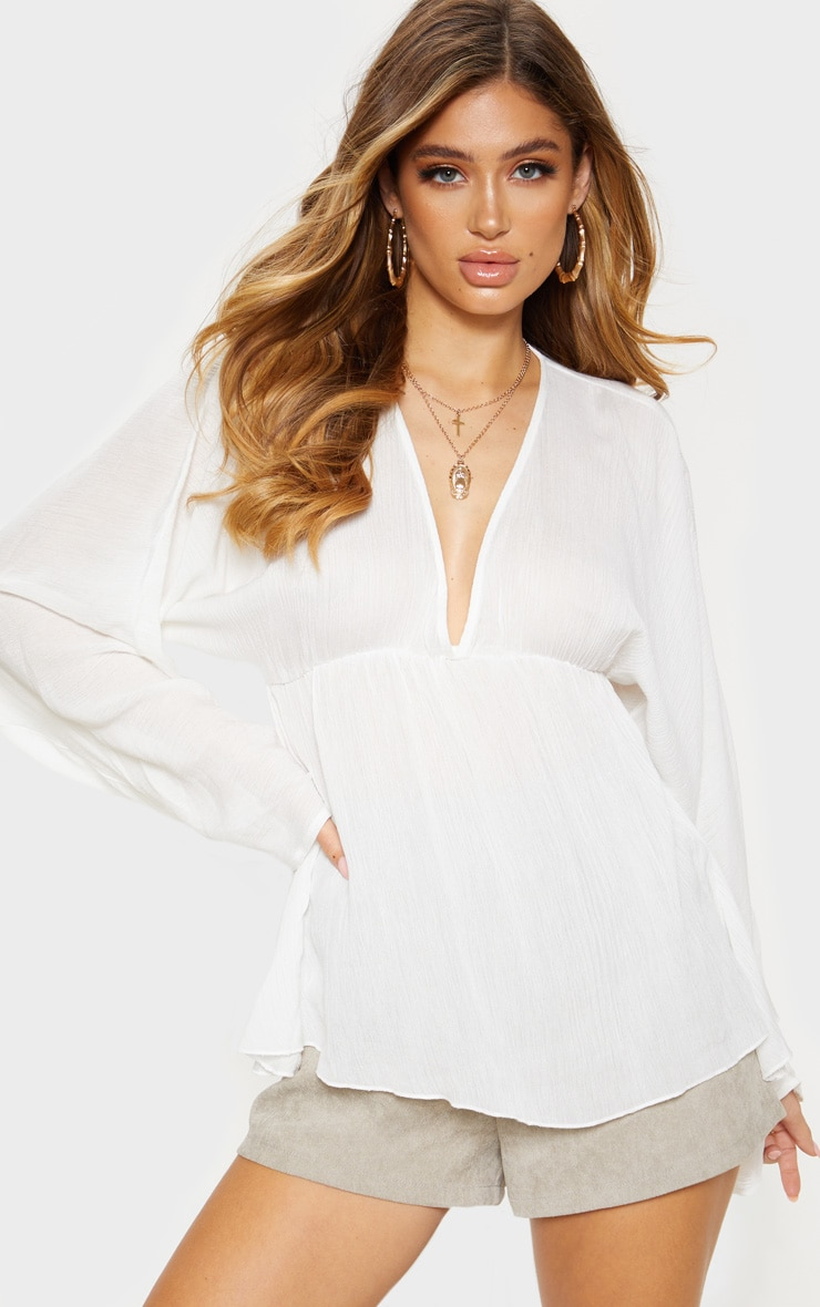 White Cheesecloth Plunge Ruched Sleeve Top 1