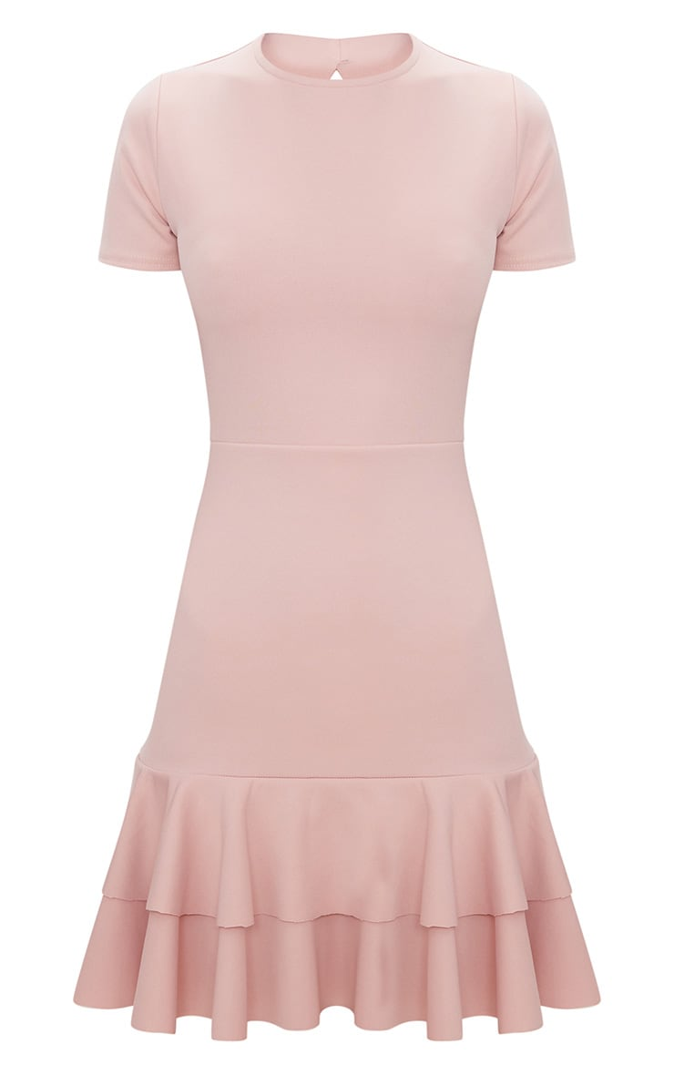 Dusty Pink Lace Up Back Frill Hem Bodycon Dress  2