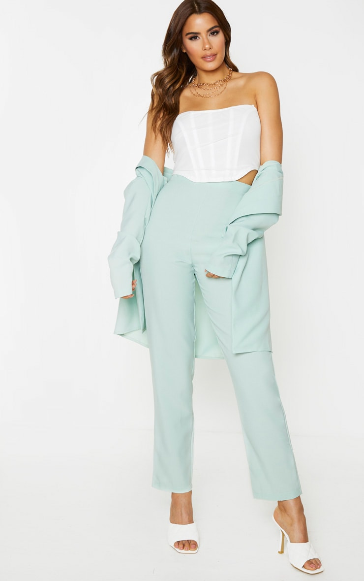 Tall Mint Cropped Suit Trousers 1
