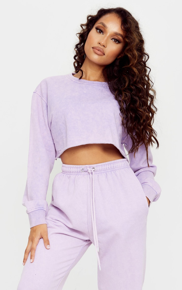 Petite Washed Purple Cropped Sweater 1