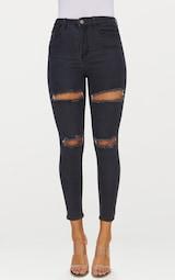 eab12f3264728c Jean skinny taille haute noir délavé et déchiré 5 poches image 4