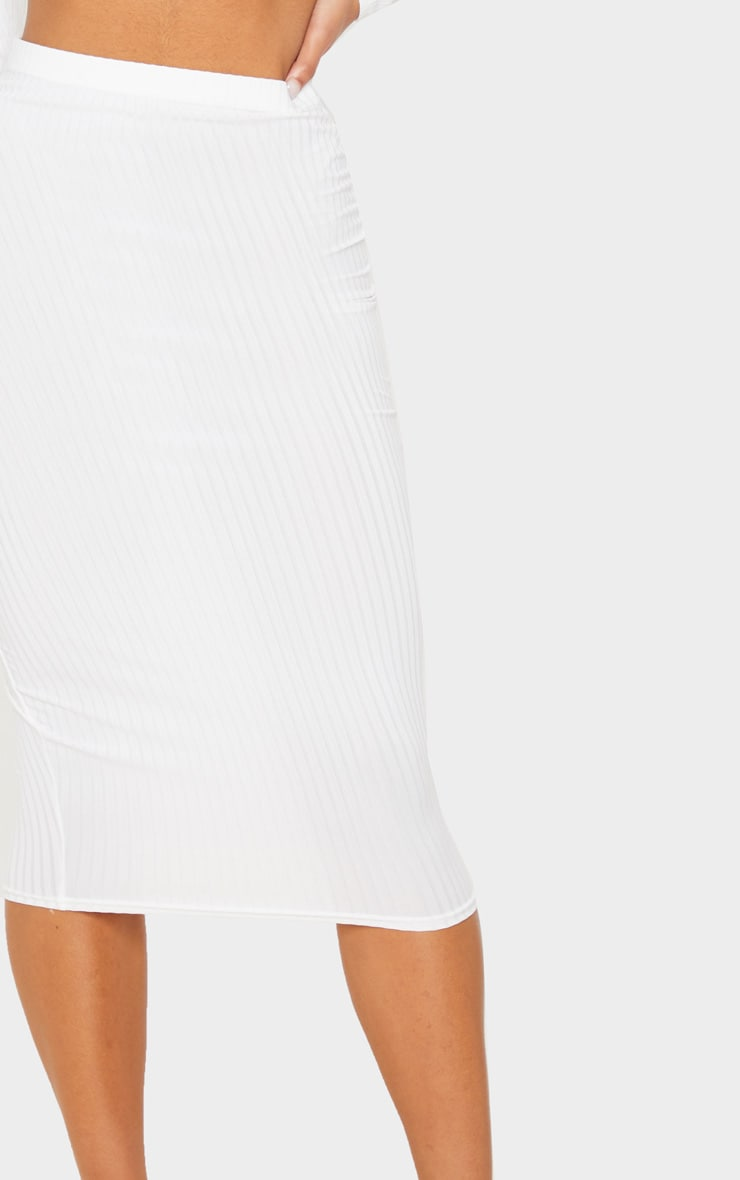 Cream Ribbed High Waist Midi Skirt 5