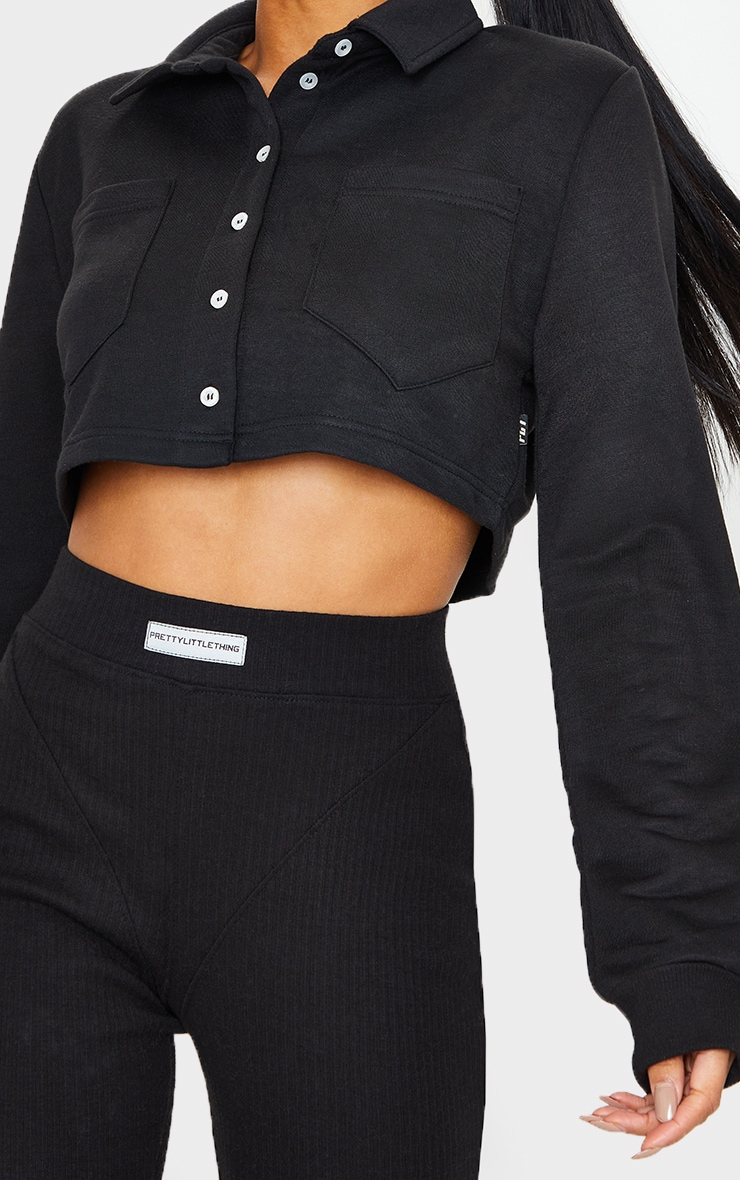 PRETTYLITTLETHING Black Button Front Crop Polo Shirt 4