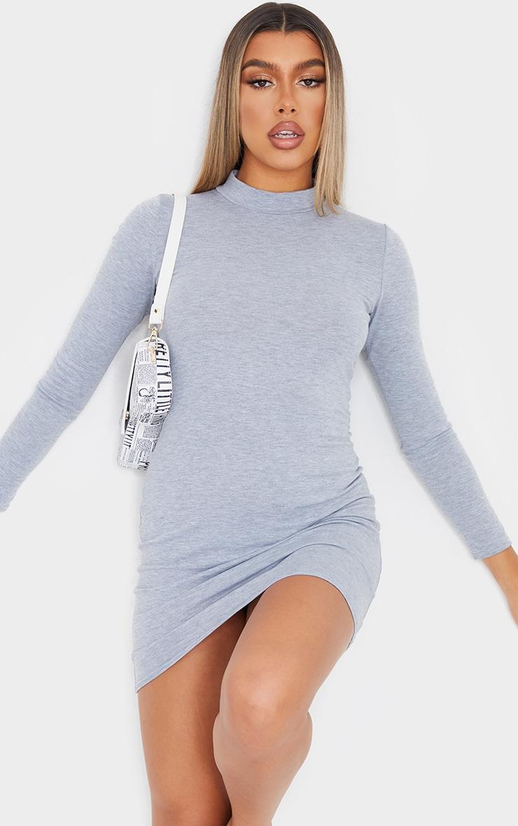 Grey Marl Jersey High Neck Bodycon Dress 1