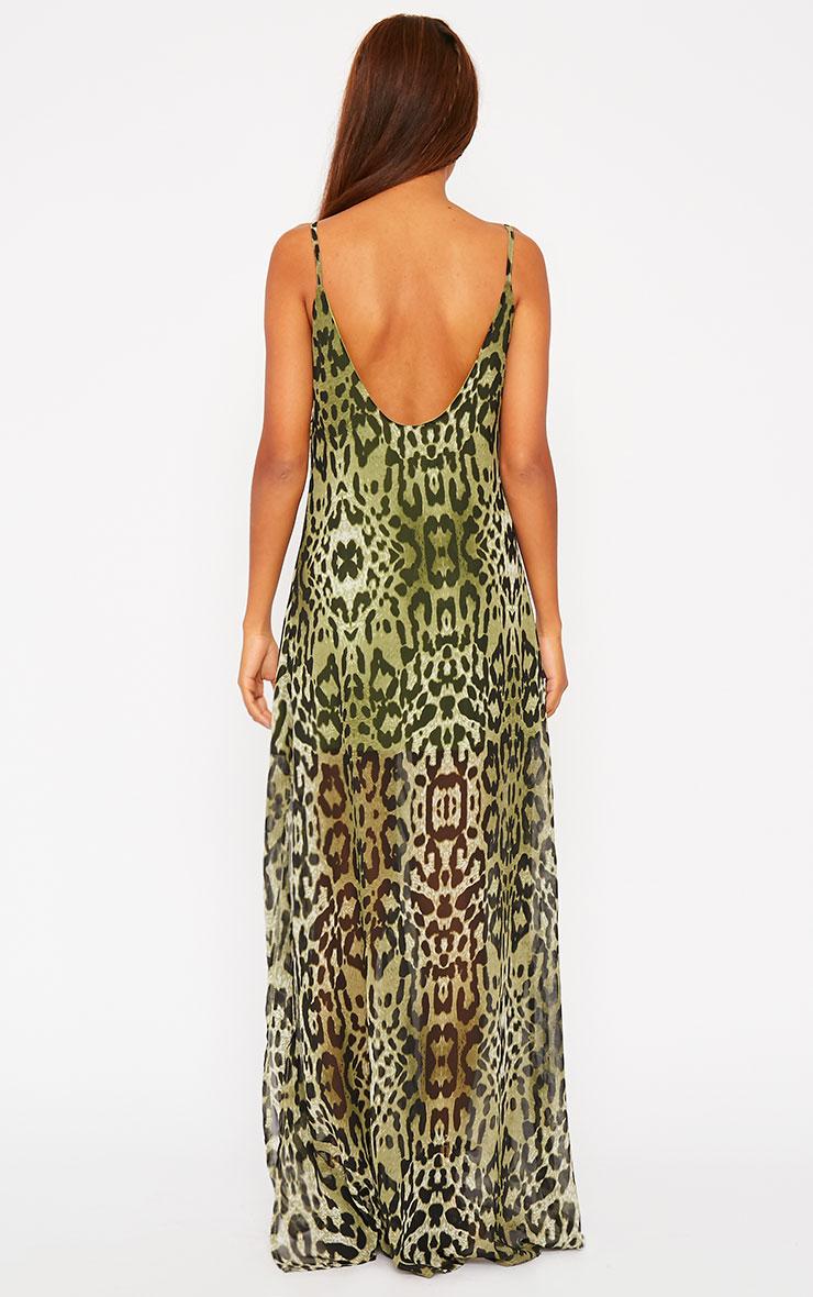 Jamila Green Leopard Print Button Front Maxi Dress 2