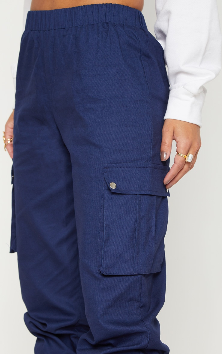 Petite Navy Pocket Detail Cargo Trousers 5