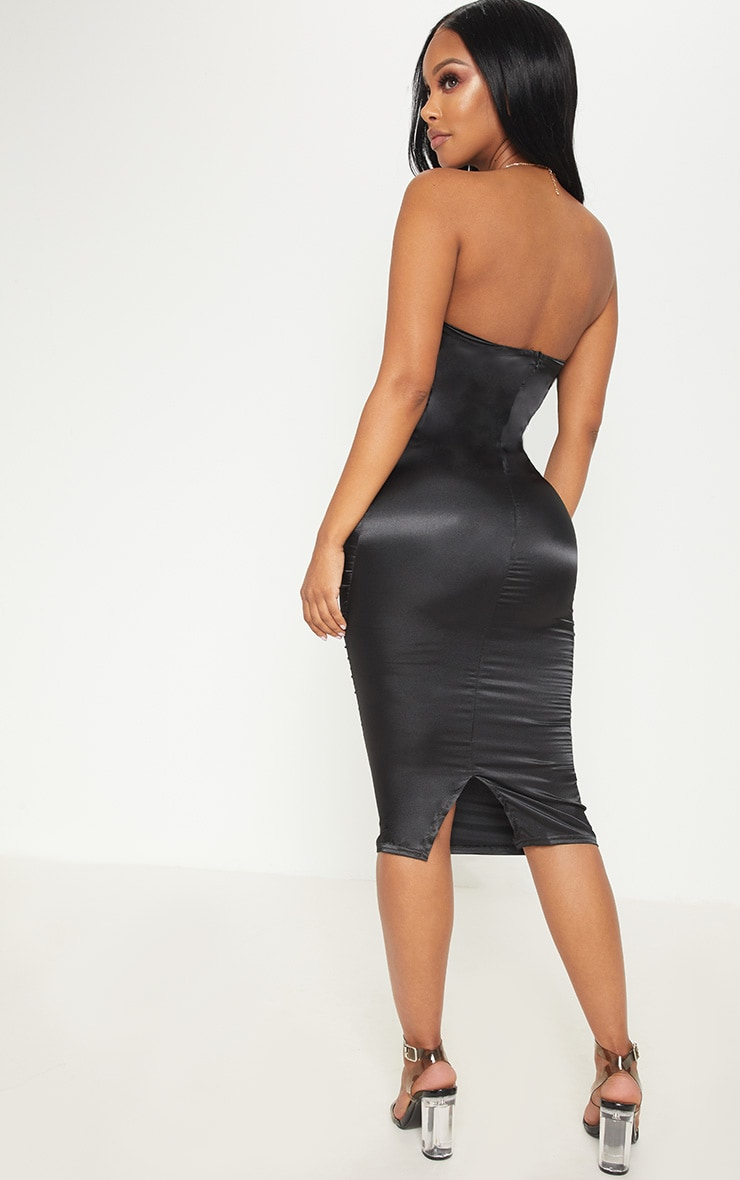Shape Black Satin Bandeau Midi Dress 2