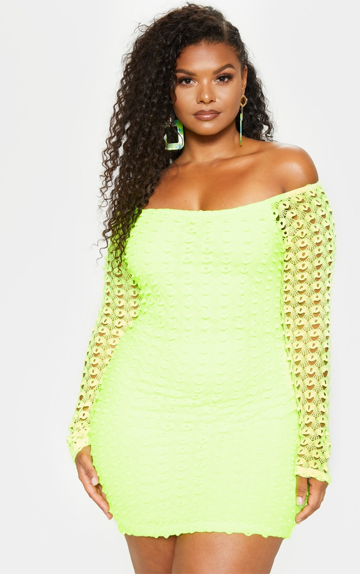 Plus Neon Yellow Crochet Bardot Bodycon Dress image 1