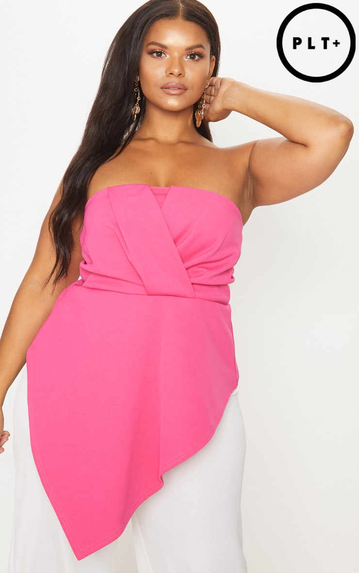 Plus Hot Pink Origami Bandeau Top 1
