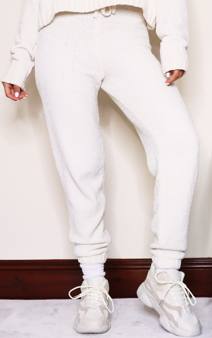 Cream Chenille Tie Waist Knitted Jogger 2