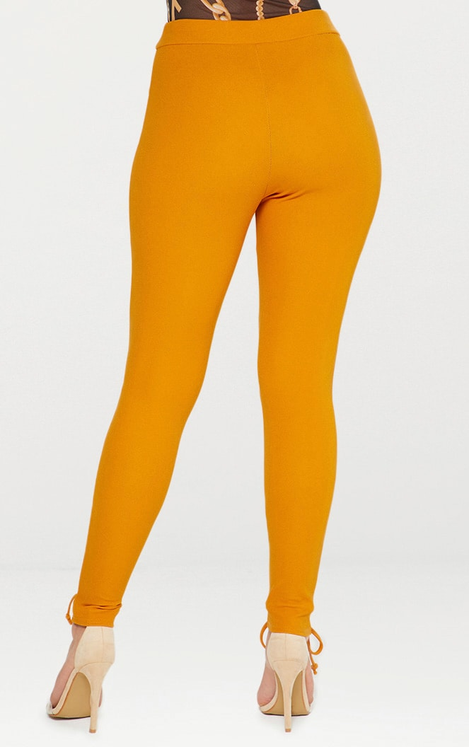 Mustard Lace Up Hem Skinny Trousers 4
