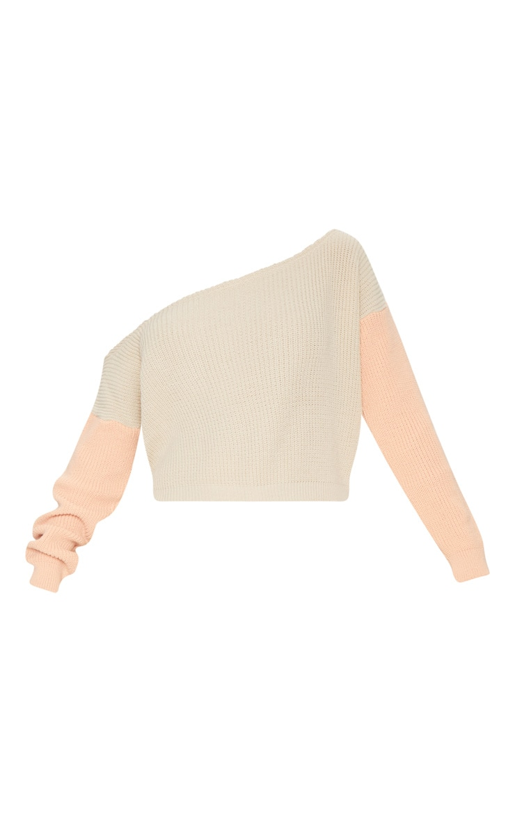 Stone Off Shoulder Cropped Colour Block Jumper 3