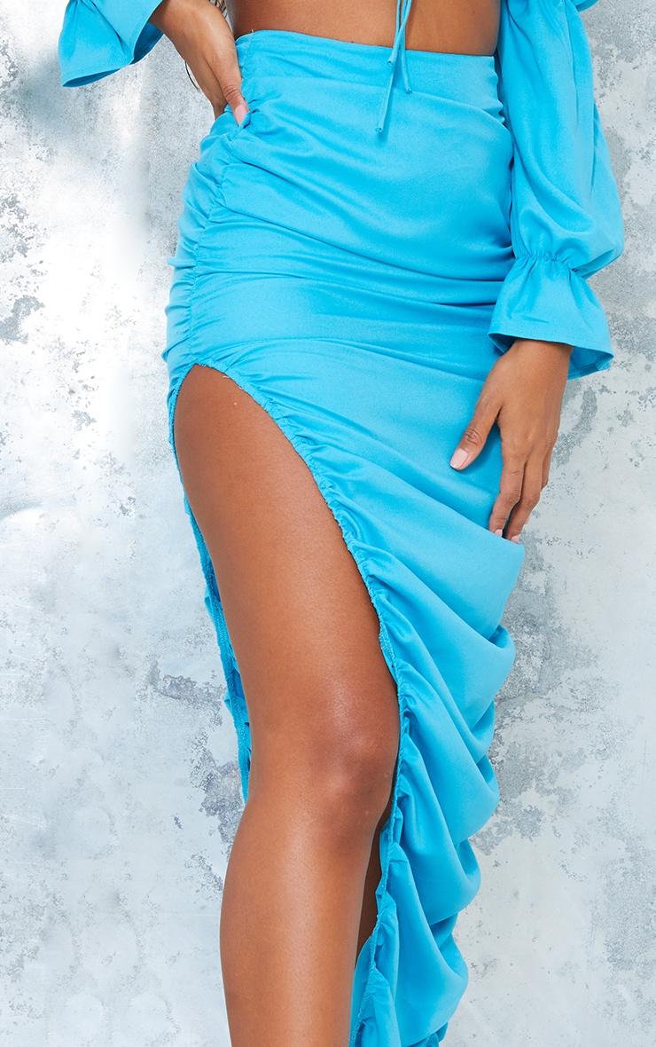 Bright Blue Woven Ruched Side Detail Split Leg Midaxi Skirt 4