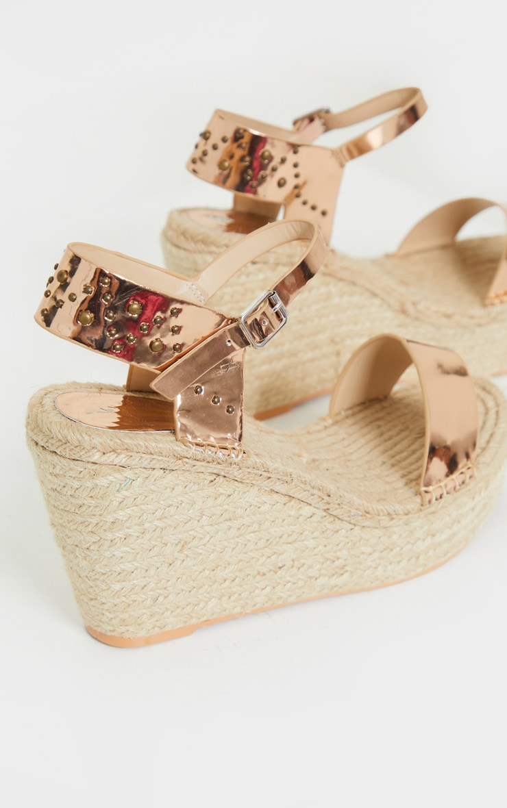 Rose Gold Espadrille Wedge Sandals 4