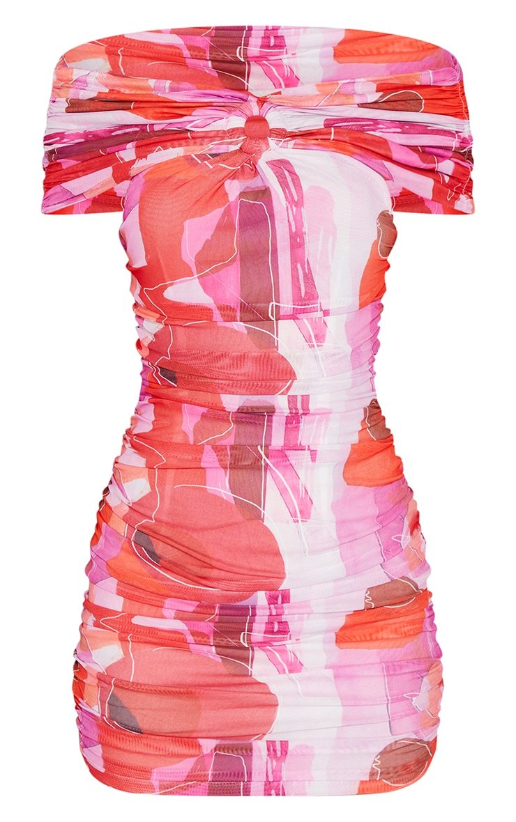 Pink Scribble Print Mesh Ruched O Ring Detail Bardot Bodycon Dress 5