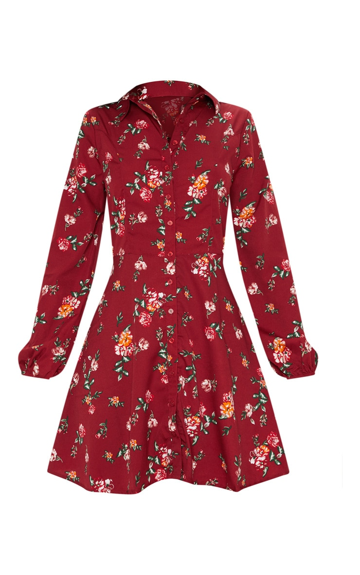 Deep Burgundy Printed Skater Shirt Dress 3