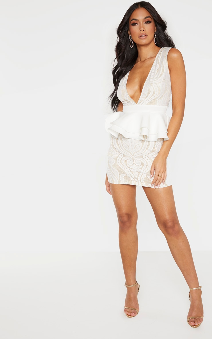 White Ruffle Detail Plunge Bodycon Dress 1