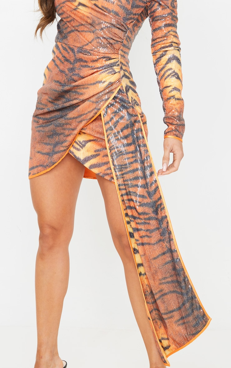 Orange Tiger Print Sequin Long Sleeve Drape Detail Bodycon Dress 5