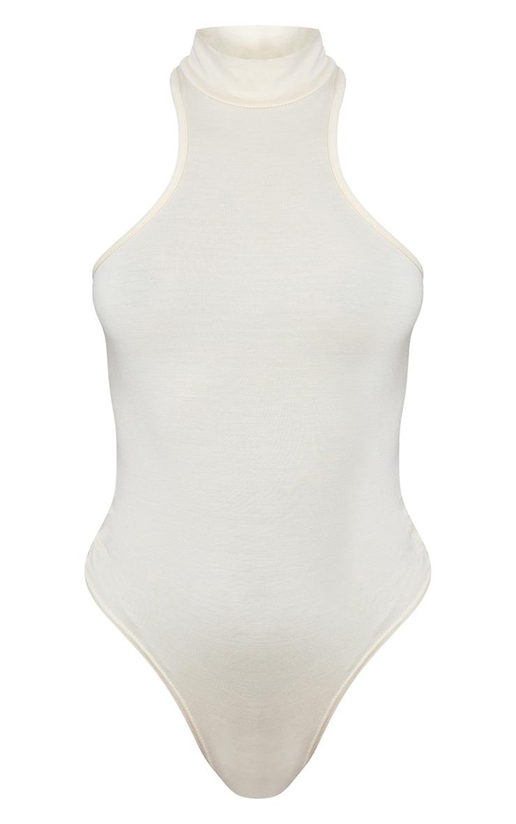 Ecru High Racer Neck Lounge Bodysuit 5