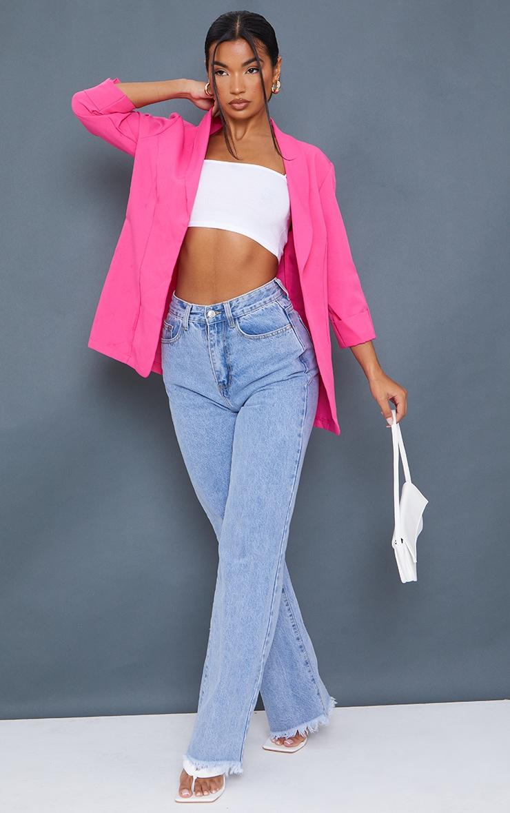 Pink Woven Turn Up Sleeve Blazer 1