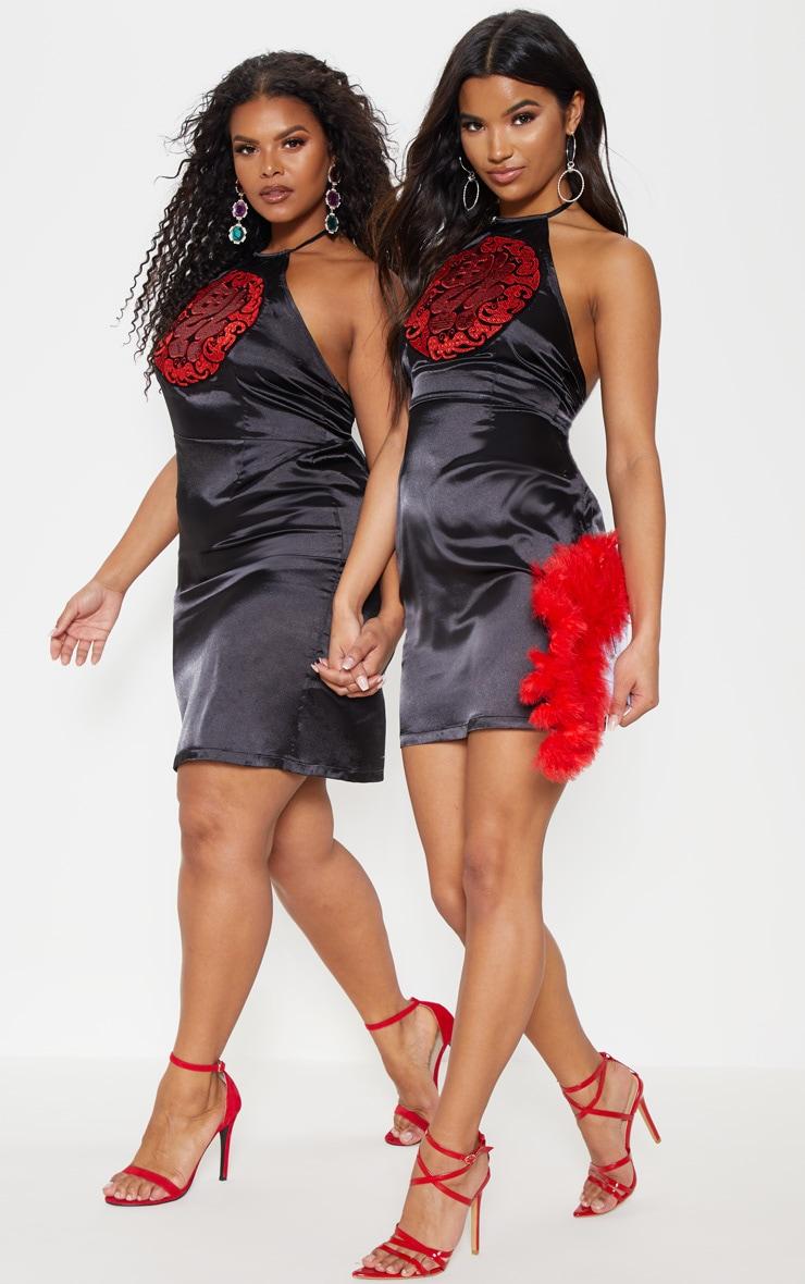 Plus Black Satin Sequin Oriental Bodycon Dress 7