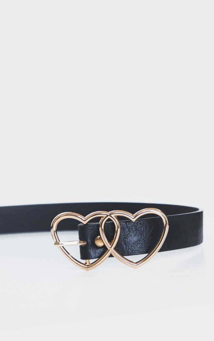 Gold Double Heart Black PU Belt 3