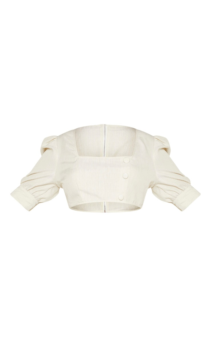 Plus Stone Woven Square Neck Puff Sleeve Crop Top  3