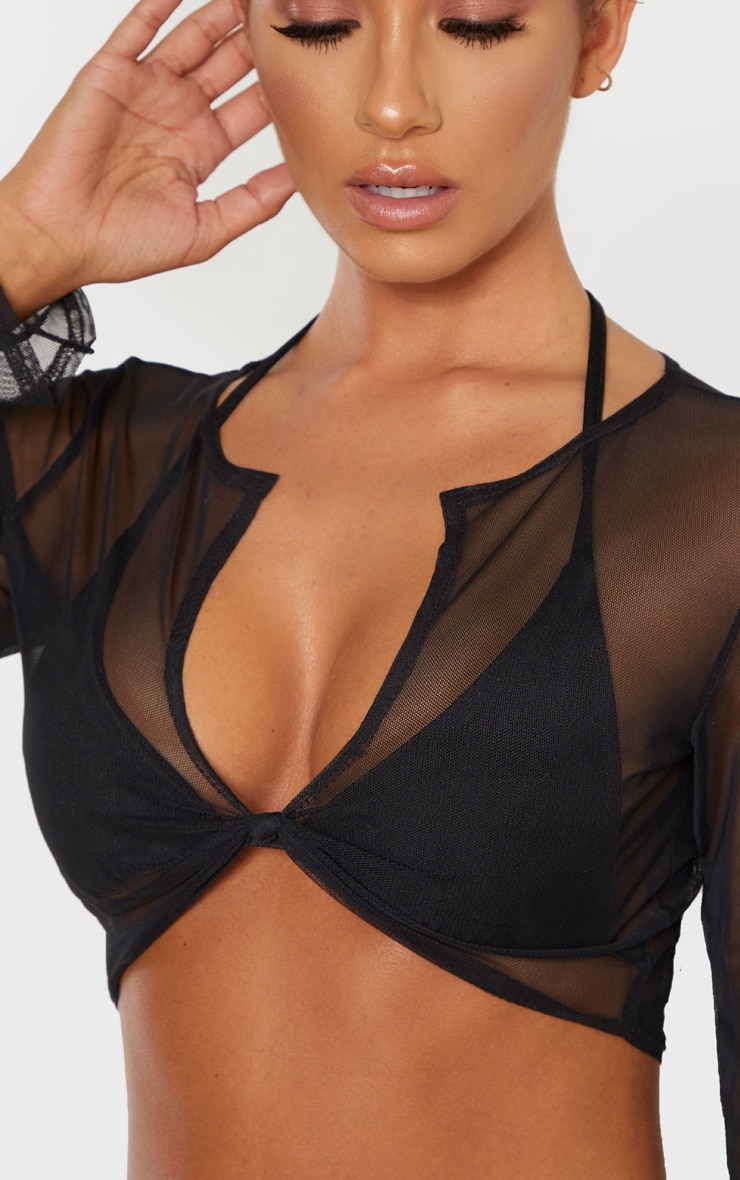 Black Long Sleeve Knot Front Mesh Beach Top 5