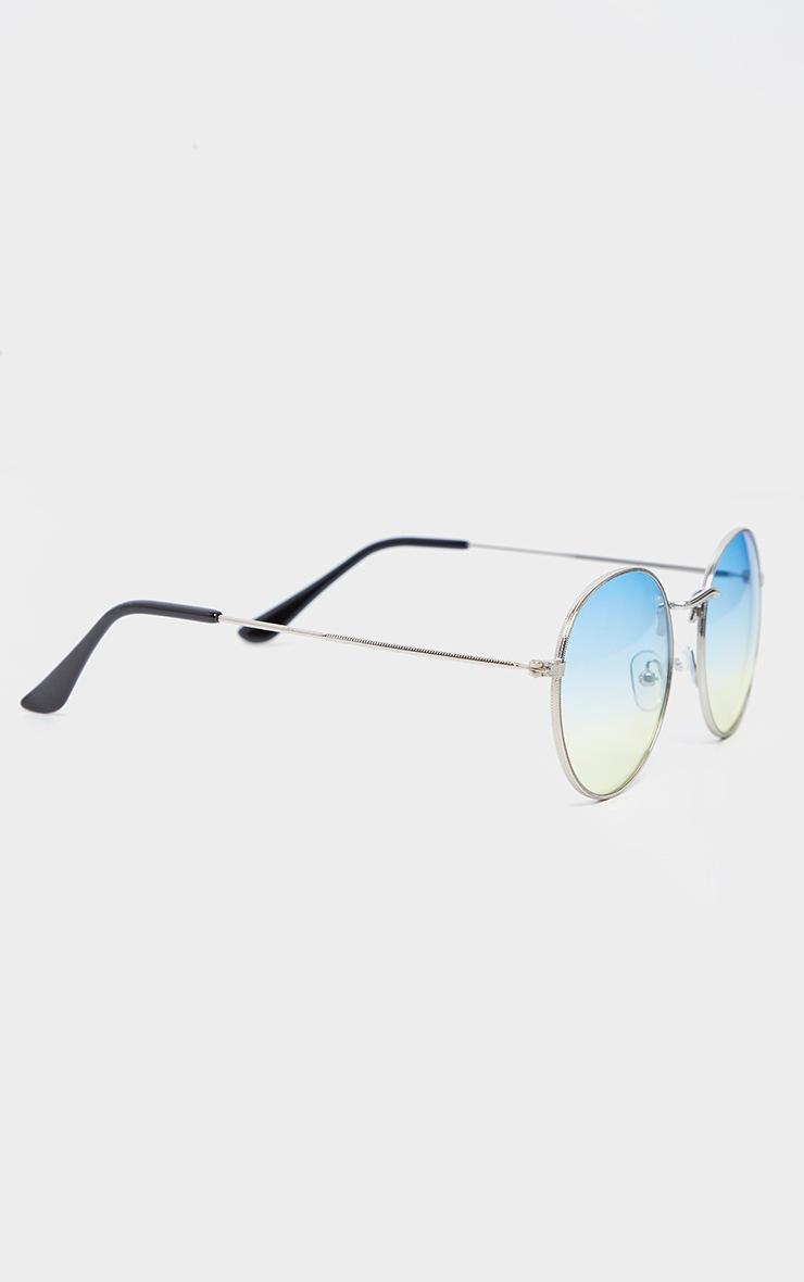 Green Fade Lens Metal Frame Round Retro Sunglasses 3