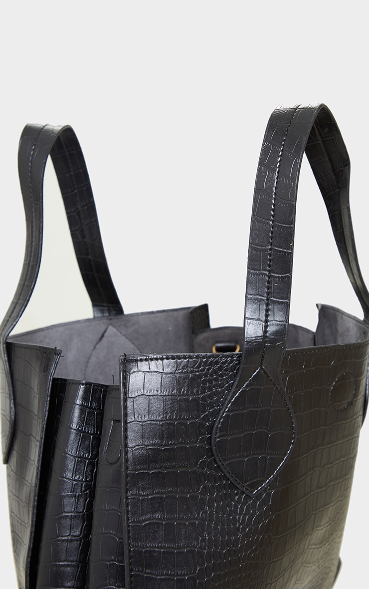 Black PU Croc Tote Bag 3