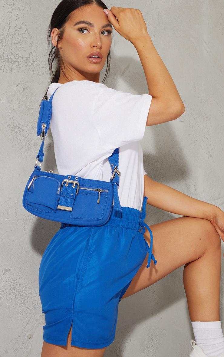 Electric Blue Multi Pocket And Zip Shoulder Bag 2