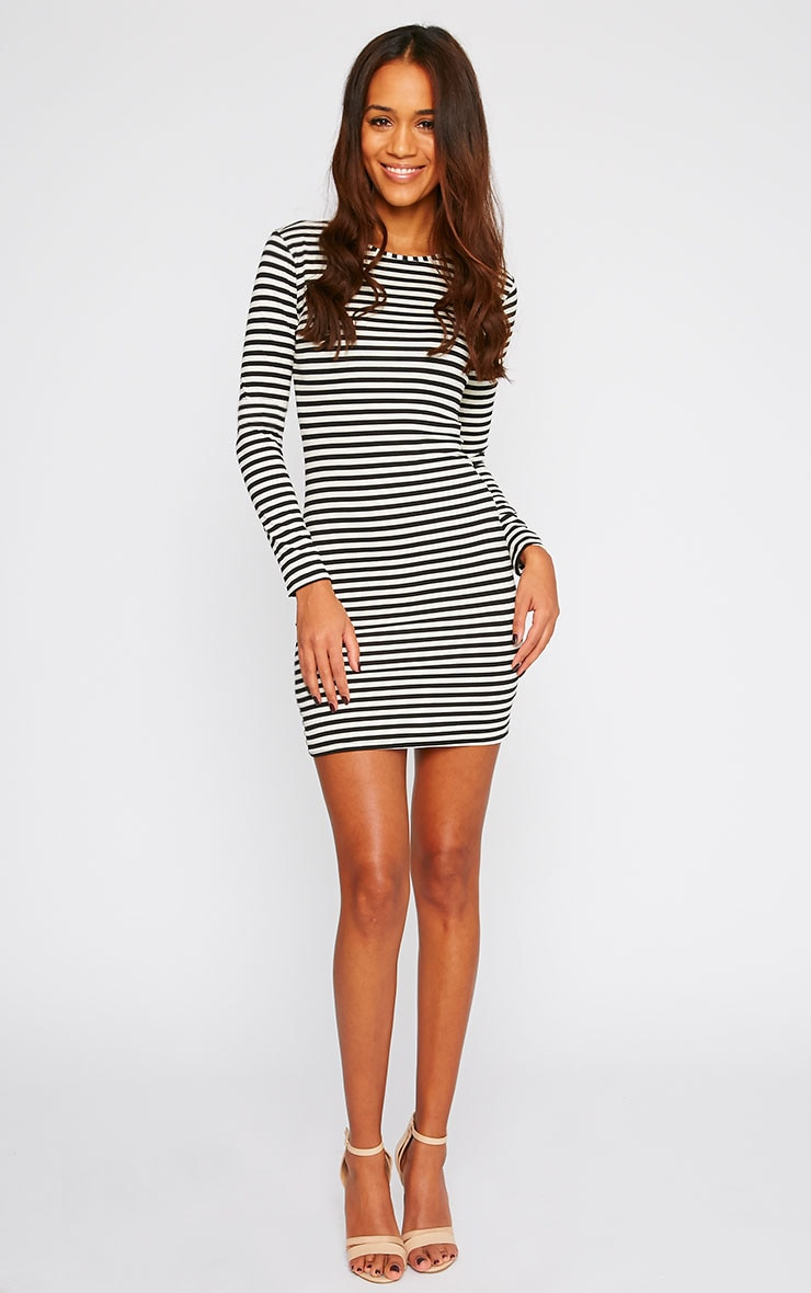 Carolina Monochrome Stripe Long Sleeve Jersey Mini Dress 3
