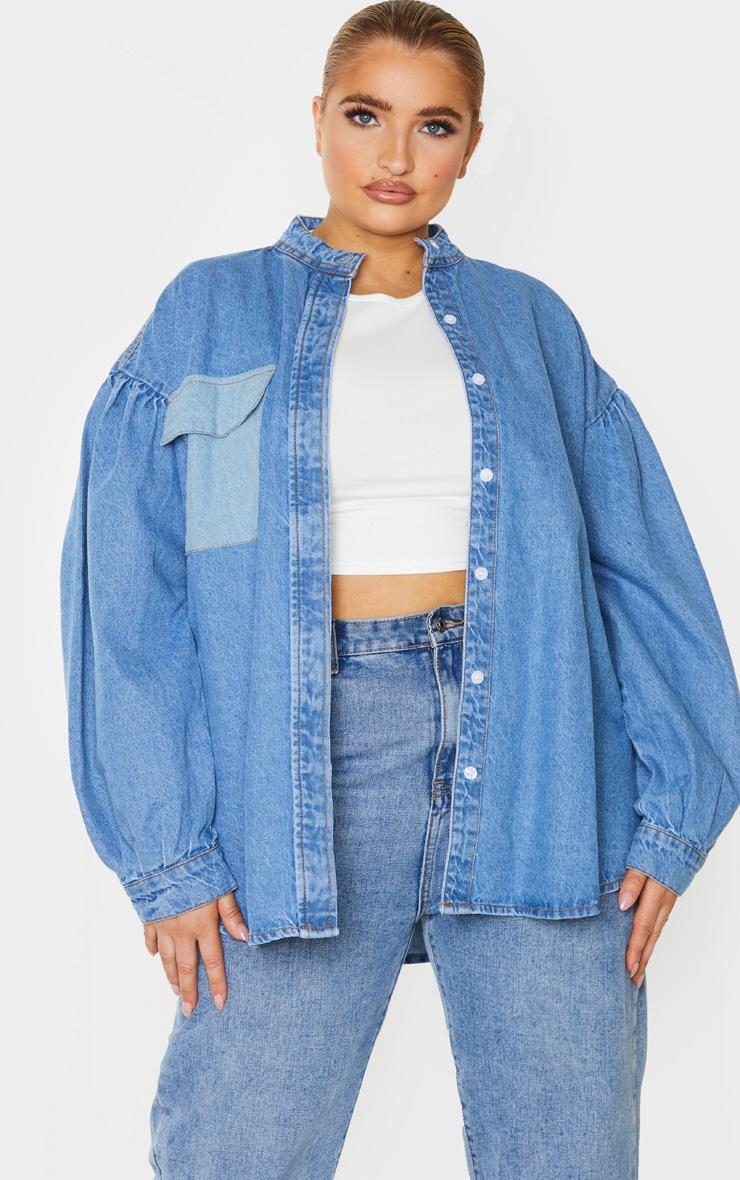 Plus Mid Blue Wash Puff Sleeve Contrast Pocket Shirt 1