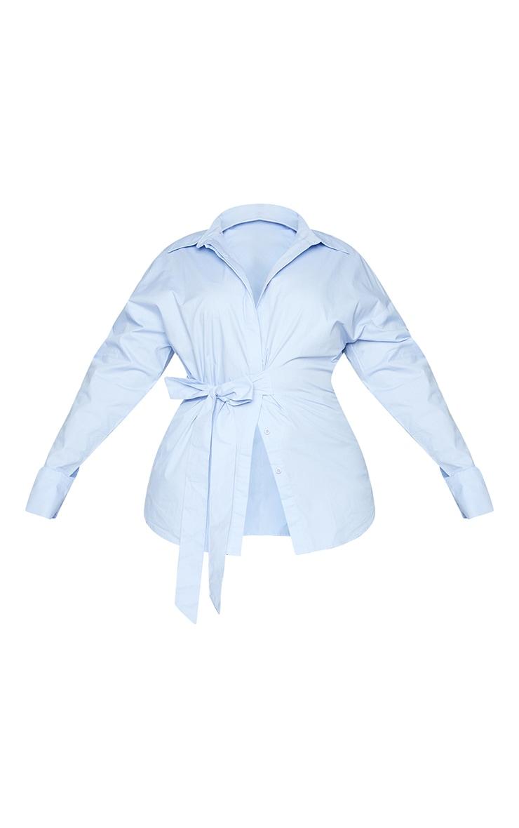 Plus Blue Tie Side Detail Poplin Shirt 5