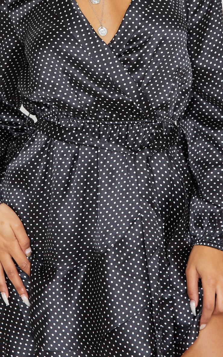 Black Polka Dot Satin Frill Hem Tea Dress 5