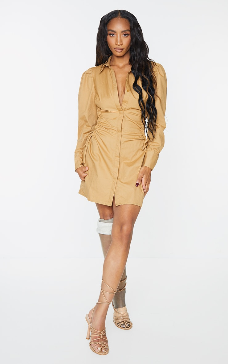 Camel Ruched Side Lace Up Detail Shirt Dress 3