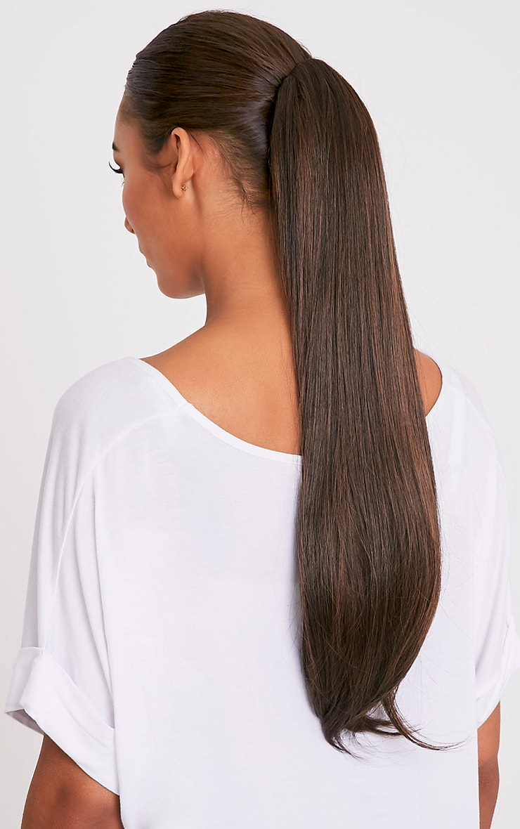 Warm Bruntette Clip In Straight Ponytail 1