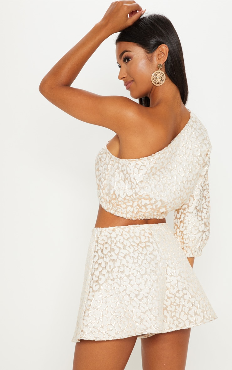 Gold Foil Print One Shoulder Crop Top 2
