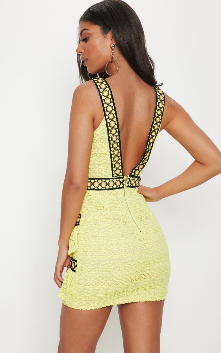Neon Yellow Lace Contrast Eyelet Trim Tiered Bodycon Dress 2