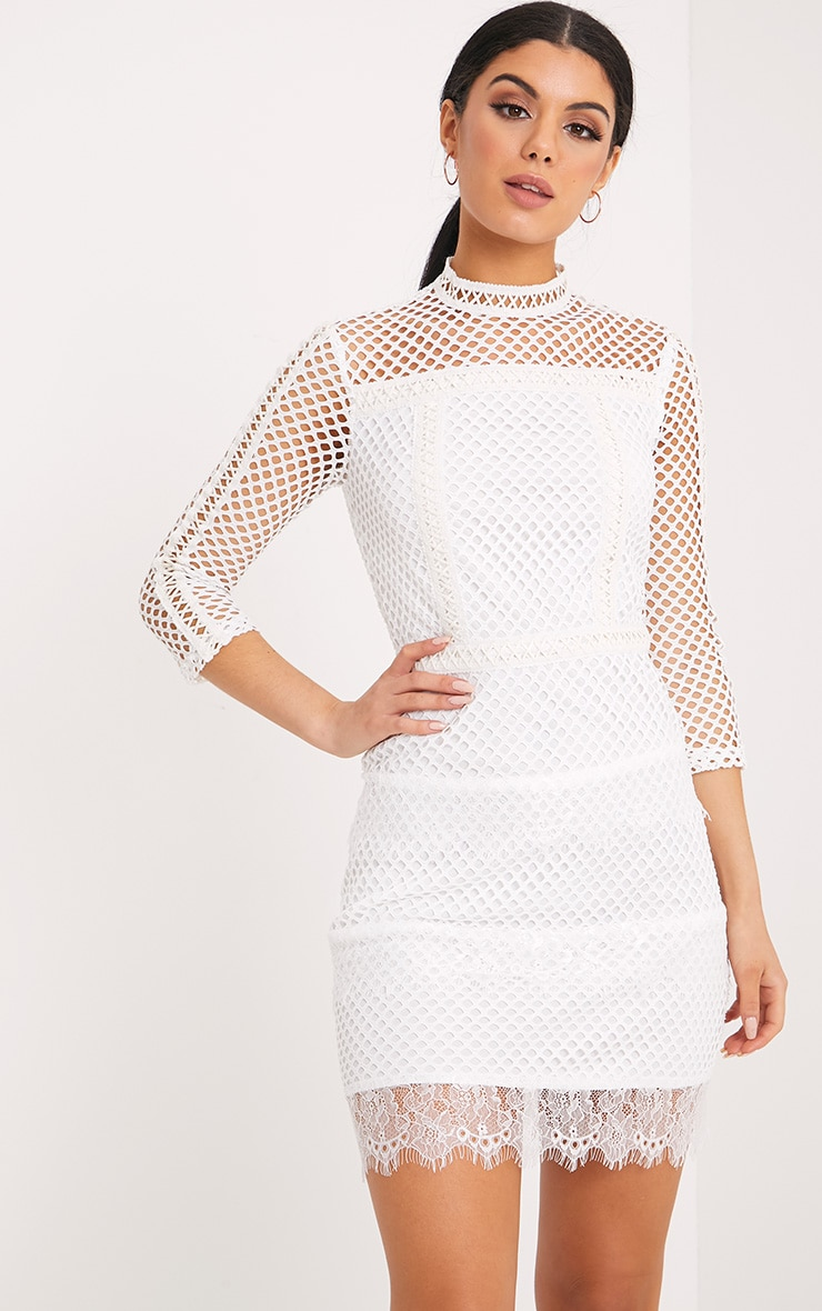 Jamey White High Neck PU Trim Fishnet Bodycon Dress 1