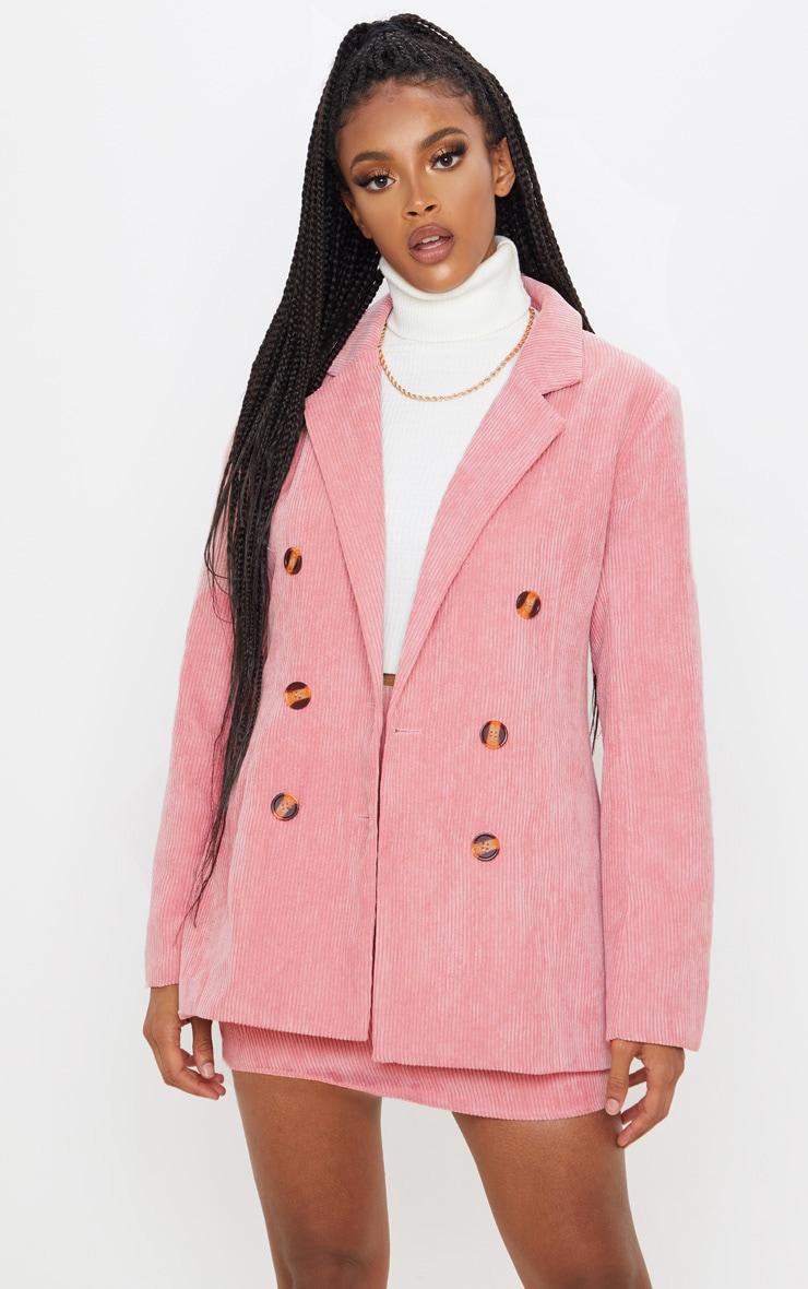 Pink Cord Oversized Boyfriend Blazer  1