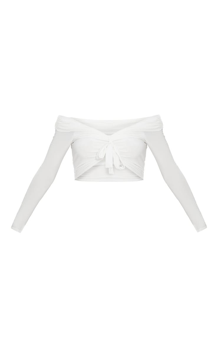 Cream Slinky Knot Front Bardot Long Sleeve Crop Top  3