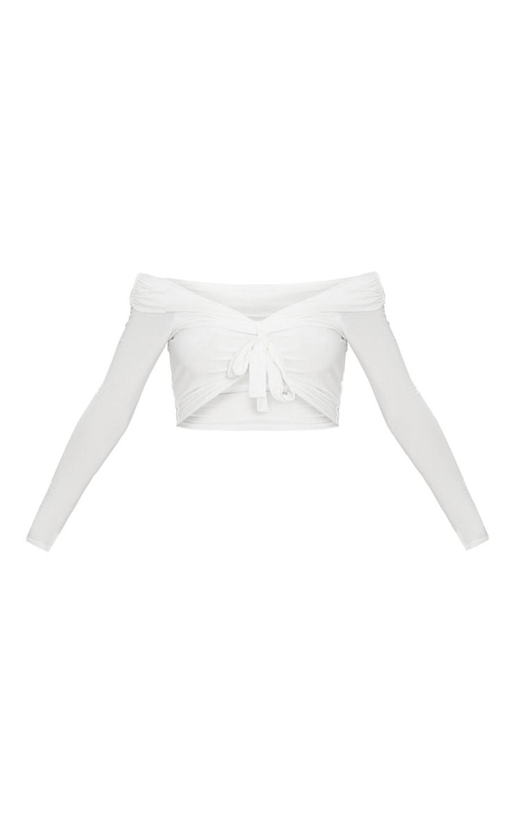 Cream Slinky Knot Front Bardot Long Sleeve Crop Top 3